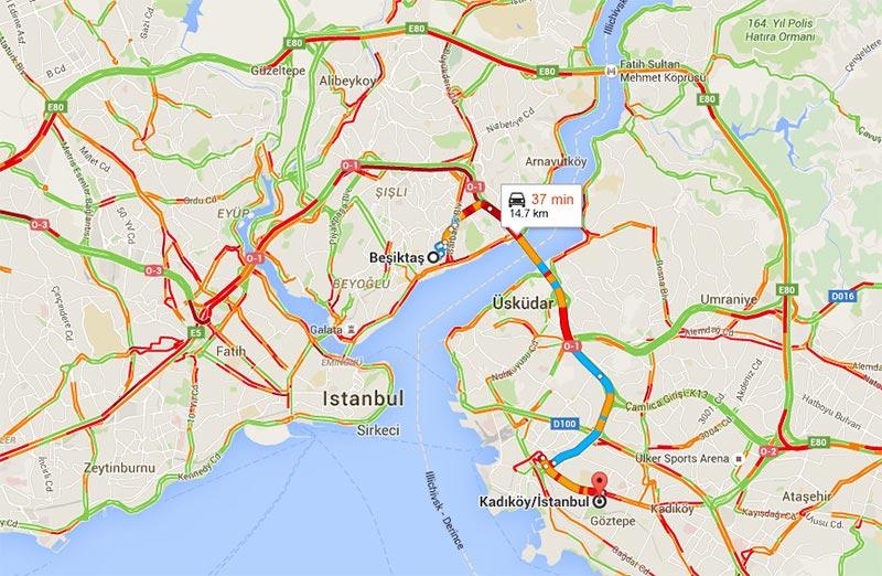 نمایش ترافیک مسیر در گوگل مپ