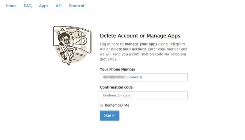 حذف کردن حساب کاربری تلگرام
