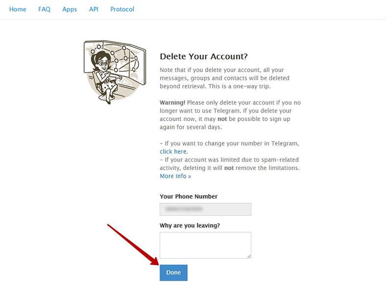 اطمینان از حذف اکانت تلگرام