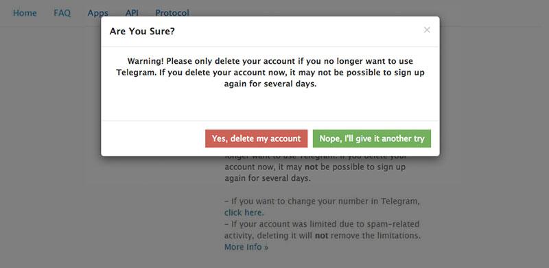 تایید نهایی حذف اکانت تلگرام